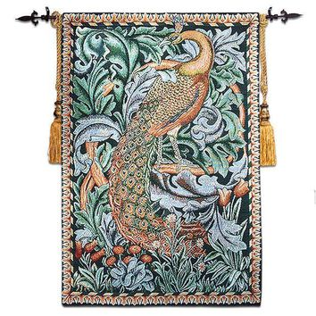 Free Shipping Good Quality Aubusson Jacauard 58*88cm William Morris Peacock Wall Hanging Tapestry Rs 25