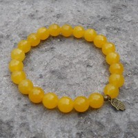 Joy and Harmony - Genuine Faceted Yellow Jade Gemstone Yoga Mala Bracelet