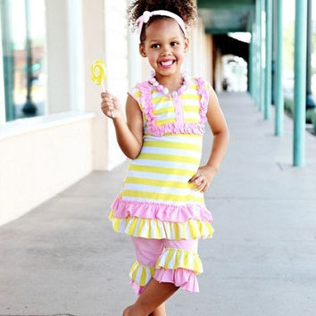Lemonade Boutique Outfit, 2 Piece Ruffle Set