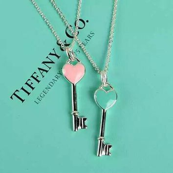 Tiffany & Co. Enamel Blue Heart Pink Heart Key Necklace