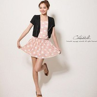 New Arrive Two-piece Short Jacket Sleeveless Dress Pink-Wholesale Women Fashion From Icanfashion.com