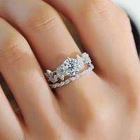 Princess Ring Diamond Set Ring Tree Leaf Engagement Ring