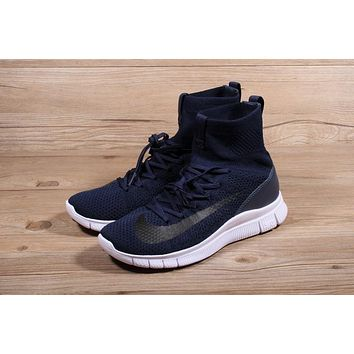 Nike Free Flyknit Mercurial Superfly Navy White Running Shoes