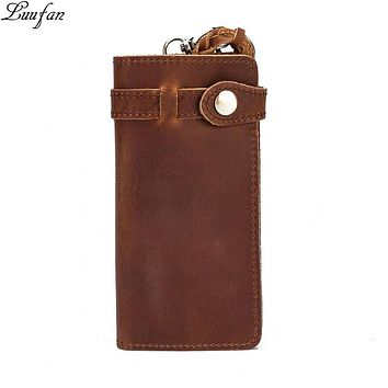 Vintage Men genuine Leather long Wallet with zipper phone pocket Cow leather bifold clutch wallet real leather card holder purse