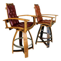 Handmade Reclaimed Bourbon Barrel Pub Chair With Italian Leather