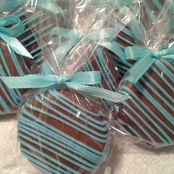Milk Chocolate Covered Oreos Cookies Tiffany Blue Wedding Favors It's a Boy Christening Favors Tiffany Baby Shower Party Favors Communion