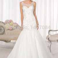 New Hot Sell Trumpet Sweetheart Off the Shoulder Tank Sleeveless Organza and Tulle Lace Wedding Dresses 2015