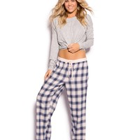 Uni Check Long Pj Pant - Print Check