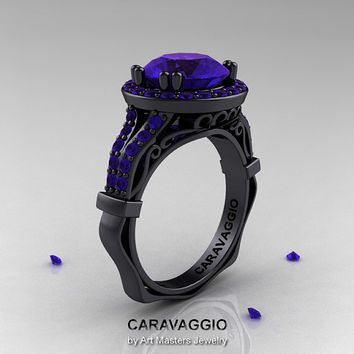 Caravaggio 14K Black Gold 3.0 Ct Tanzanite Engagement Ring, Wedding Ring R620-14KBGTA
