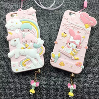 Cute Hello Kitty My Melody Little Twin Stars Gemini Silica gel Phone Case Capa Para Fundas Cover For Iphone 6 6 Plus S0193
