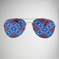 Confederate Flag Aviator Sunglasses