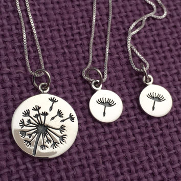 Dandelion Mother Daughter Necklace - Wish Necklace -Mommy and Me - Mom Daughter Jewelry Set - Sterling Silver Jewelry - I wished for you