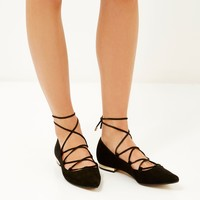 Black lace up pointed flats - lace up / caged shoes - shoes / boots - women