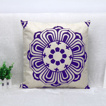 Vintage Printed Pillow Case Chinese Style Rotate Petal Cushion Cotton Linen Cover Square 45X45CM
