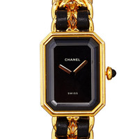 Vintage Chanel Gold & Black Premiere Watch From What Goes Around Comes Around by Vintage Chanel from What Goes Around Comes Around - Moda Operandi