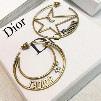 DIOR Hot Sale Women Chic Retro Stars Moon Irregular Earrings Accessories Jewelry