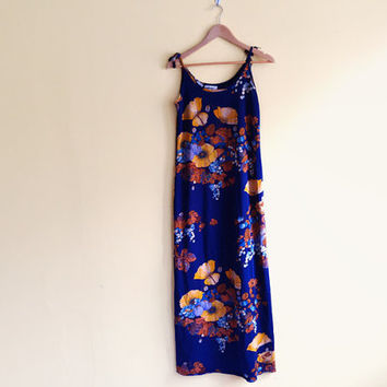Vintage 70s Goldworm Maxi Dress - 70s maxi dress long floral dress 60s 70s dress 70s boho dress 70s floral dress sleeveless summer dress