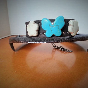 Leather Wrap Bracelet., Charm Bracelet, Turquoise Bracelet, Butterfly Jewelry, Leather Cuff, Bracelet with Beads, Butterfly Gift