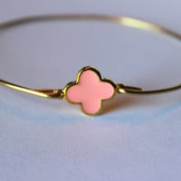 Gold Pink Clover Quatrefoil Bangle Bracelet Gold Charm - Stackable Bangle Bracelet - Christmas Gift - Bridesmaid Gift - Gift under 15