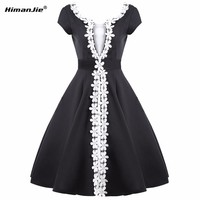 HimanJie Women Elegant Ruched Sexy V Back Zipper Vintage Casual Wear to Work Office Business Party Club swing flower Dresses