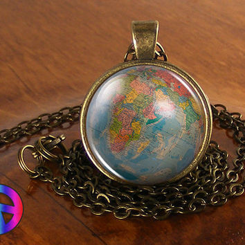 Vintage Antique World Globe Map (15) Pendant Necklace Jewelry Charm Gift Gifts