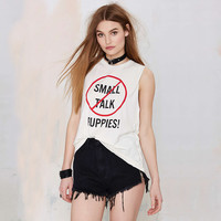 White Sleeveless Small Talk Puppies Graphic Tee