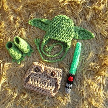 Yoda Hat Diaper Cover Lightsaber Newborn Photography Props