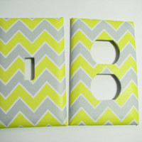 Light Switch Cover Set - Light Switch Plate Yellow Gray Chevron