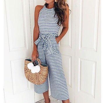 Sleeveless Bow Tie Wide Leg Loose Striped Jumpsuit