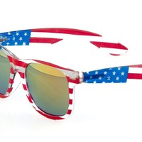 grinderPUNCH® American Patriot Flag Wayfarer Sunglasses Mirror Lens USA