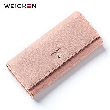 WEICHEN New Style Long Wallets Women Hasp Solid Wallet with Coin Phone Pocket Brand Designer Female Purse Credit Card Holder Bag