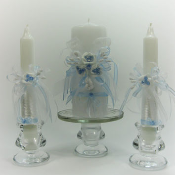 Handmade Wedding Unity Candles, Something Blue, Roses, Pillar Candle, Taper Candles, Personalized Candles, Unity Candle Set