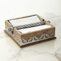 GG Collection Wood & Metal Napkin Holder