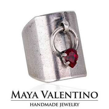 Oxidized silver ring, Antique silver ring, Designer jewelry, Adjustable ring, Ruby Ring, Special Ring design, Daily jewelry, Estate jewelry