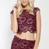 Floral Lace and Mesh Crop Top | MakeMeChic.com