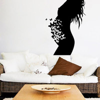 Pregnant Woman Wall Decal Pregnancy Stickers Butterfly Decal Vinyl Decals Fashion Art Murals Home Boho Interior Design Nursery Decor KI126