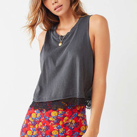 Truly Madly Deeply Lace-Bottom Tank Top | Urban Outfitters