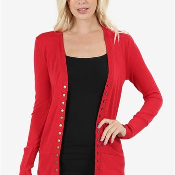 Best-Selling Snap Button Cardigan - 12 Colors!