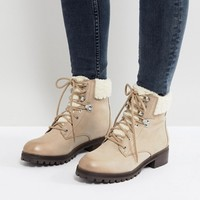 ALDO Uleladda Leather Lace Up Hiker Boot in Taupe at asos.com
