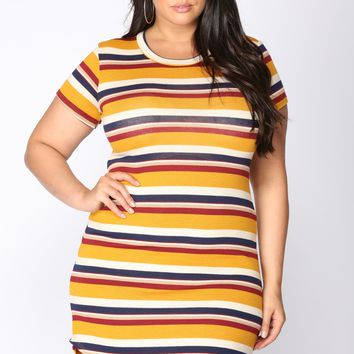 Stripes Please Mini Dress - Mustard/Navy