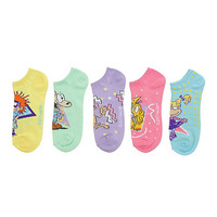 Nickelodeon Retro Pastel No-Show Socks 5 Pair