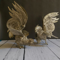 Pair of French Fighting Roosters/ Fighting Cocks/ Antique French Metal Roosters/ French Art Deco Roosters