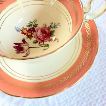 Vintage Aynsley Tea Cup and Saucer/Thanksgiving Tea Party/Fine Bone China