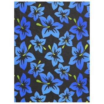 Hawaiian Flower Black & Blue Fleece Blanket