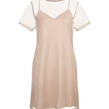 Pink Sheer Metallic 2 in 1 Dress