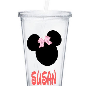 Personalized Clear Acrylic Tumbler w/Mickey Mouse Design - Double Wall Insulated 16oz BPA Free
