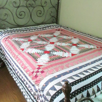 Vintage Handmade Bed Quilt Twin Full Reversible Hand Stitched Bedding Wall Hanging Sale