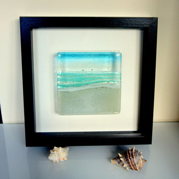 Turquoise Beach in a Box - Seaside Glass Framed Picture - fused glass wall art