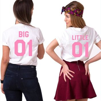 Big Little 01 Shirts Chic Women Tops Plus Size Girls Print T Shirt Sisters Bff Casual Female Best friends Cotton Lover T-Shirt