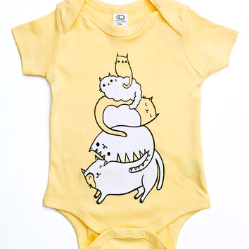 Stack the Cats! Baby Onesuit - Cat Pile Organic Baby Clothing by boygirlparty
